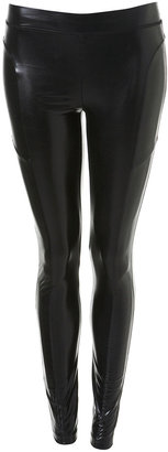 Panelled Wet Look Leggings - Pants &amp; Shorts