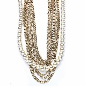 Vale Multi-Chain and Pearl Necklace - Layered Pearl Necklace