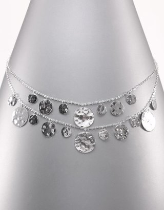 Lord &amp; Taylor Sterling Silver Two Row Necklace With Hammered Discs - Sterling Necklaces