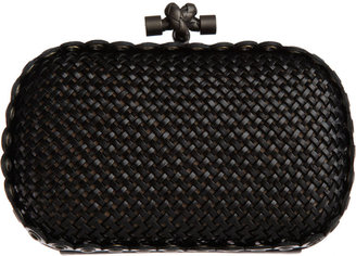Bottega Veneta Intrec Capretto Knot Clutch - Black - Clutches