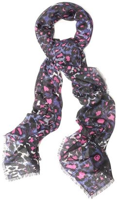 Blue Snake Leopard Silk Pashmina - Alexander McQueen Scarves