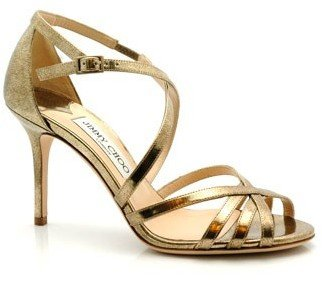 Jimmy Choo &quot;Fleet&quot; Vintage Gold Strappy Sandals - Jimmy Choo