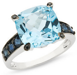 7 1/10 Carat Blue Topaz, Sapphire and Black Diamond 10K White Gold Ring - Gemstone Rings