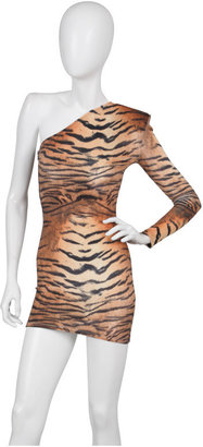 Brian Lichtenberg One Shoulder Padded Dress in Tiger - Clothes