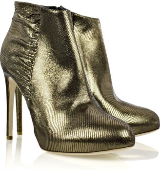 Rupert Sanderson Metallic-leather ankle boots - Dress Like Jenny Humphrey