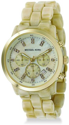 Michael Kors Horn-Style Acrylic Chronograph Watch - Gold Chronograph Watches 