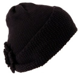Black Knit Flower Beanie - Torrid