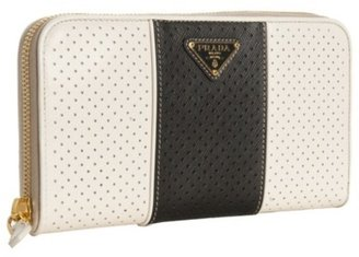 Prada white perforated saffiano stripe zip wallet - Leather Clutch