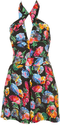 Floral Halter Neck Playsuit - Topshop