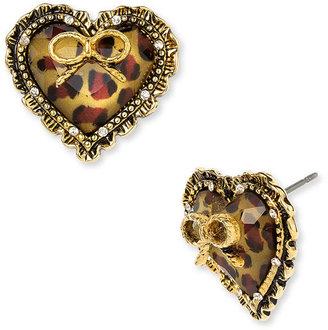 Betsey Johnson Leopard Heart Earrings - Animal Instinct