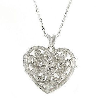 Sterling silver diamond accent heart pendant - Sterling Silver Heart Necklaces