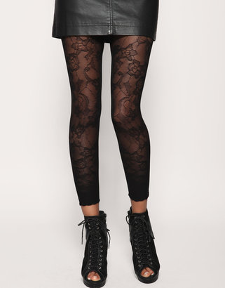 Henry Holland For Pretty Polly Lace Footless Tights (+) - House of Holland