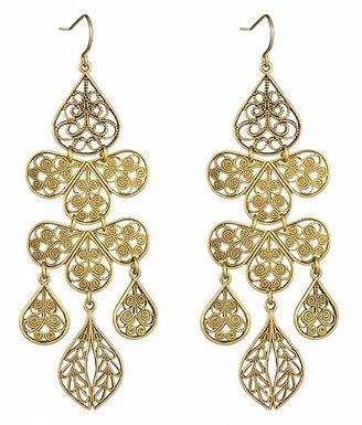 Yochi Gold Chandelier Earrings - Ornate Gold Dangle Earrings