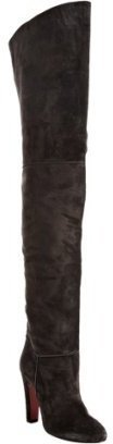 Christian Louboutin dark grey suede 'Contente 100' over the knee boots - Chic Over the Knee Boots