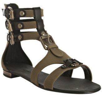 Balmain olive canvas buckle detail flat gladiators - Summer's Hottest Gladiator Sandals