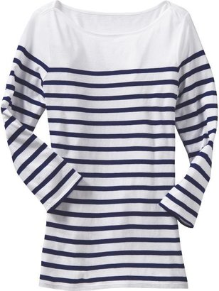 Women's Striped Boat Neck Tees - The Nautical Trend