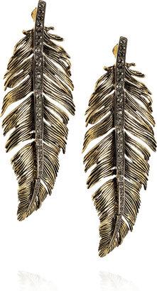 Roberto Cavalli Swarovski-embellished brass  feather earrings -  Bohemian Jewelry