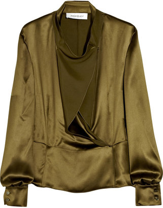 Yves Saint Laurent Cascade-front silk-satin blouse - The Best of Yves Saint Laurent